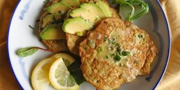 Avocado Pancakes with Lemon Coconut Parsley Sauce
