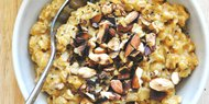 Creamy Pumpkin Oats with Blueberries & Almonds