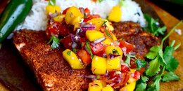 Spice Rubbed Salmon with Mango Salsa