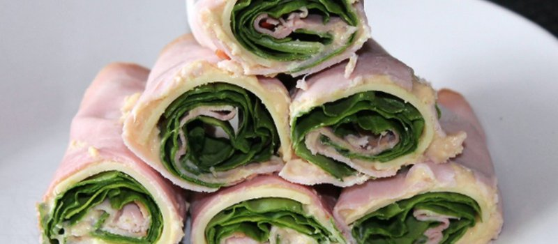 Ham, Swiss, Spinach Roll Ups