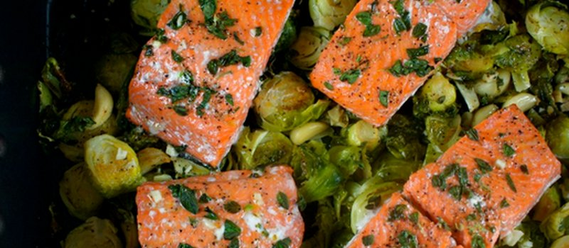 Garlic Baked Salmon with Brussels Sprouts