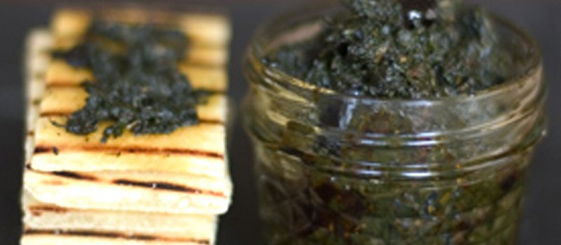 Herb Jam with Olives, Lemon and Spinach