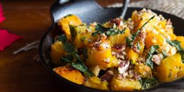 Butternut Squash with Kale & Almond Parmesan