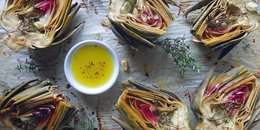 Artichokes with Lemon & Olive Oil Dipping Sauce