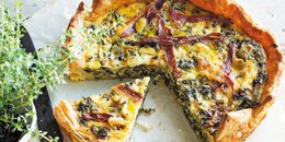 Kale, Prosciutto & Blue Cheese Tart
