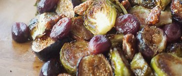 Balsamic Roasted Brussel Sprouts with Grapes & Fig
