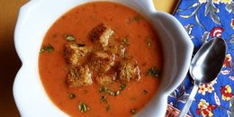 Fire Roasted Tomato Soup with Cheezy Croutons