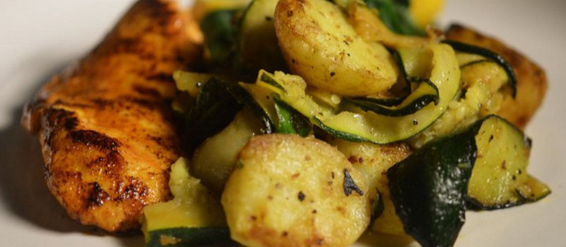 Sea Bass with Zucchini and Mini Potatoes