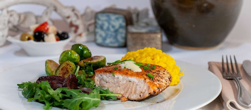Salmon with Avocado Sauce & Brussels Sprouts