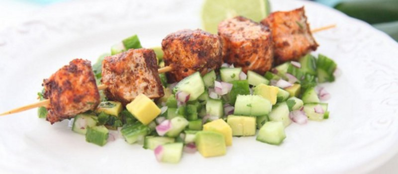 Salmon Skewers with Avocado-Cucumber Salsa