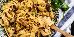 Creamy Vegan Carbonara with Shiitake Bacon