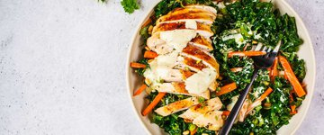Chicken Kale Salad with Radish & Tomato