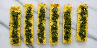 Golden Garlic Bread with Cashew Basil Pesto
