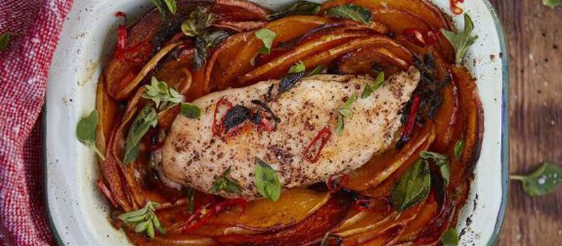 Roasted Chicken with Butternut Squash & Chili