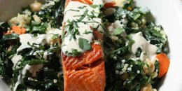 Salmon and Quinoa Bowl with Tahini Dressing