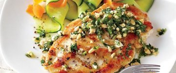 Chicken Cutlets with Cilantro Peanut Sauce
