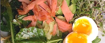 Breakfast Salad with Candied Salmon & Miso