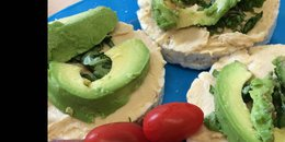 Avocado & Hummus Topped Rice Cakes