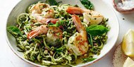 Spaghetti with Prawns, Pesto, and Pistachios
