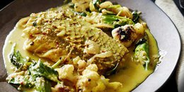 Curried Fish With Roasted Cauliflower and Okra
