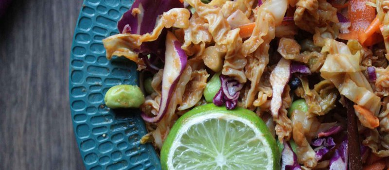 Healthy Pad Thai with Shredded Cabbage