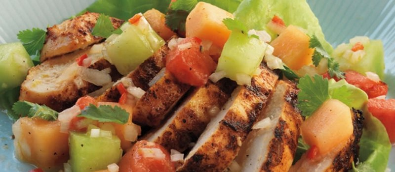 Chicken Breast Salad with Mixed Melon Salsa