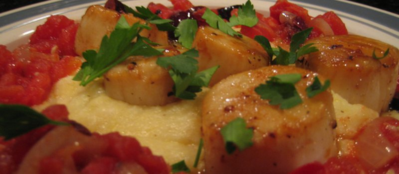 Seared Scallops with Tomato and Olive Compote