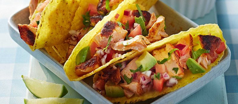 Spicy Salmon Tacos with Avocado and Tomato