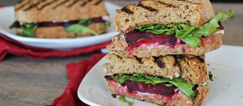 Roasted Beet, Arugula & Honeyed Goat Cheese Panini