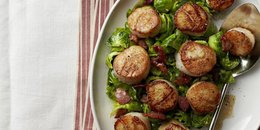 Seared Scallops with Bacony Brussels Sprouts