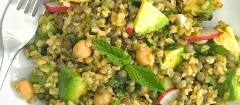 Freekeh Lentil Salad with Chickpeas & Avocado