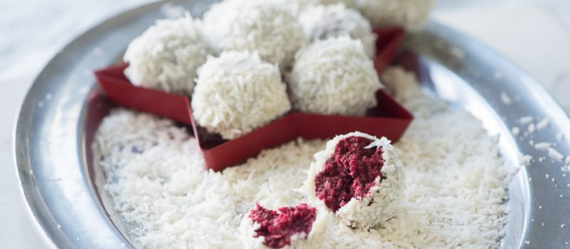 No Bake Vegan Red Velvet Snowball Cookies