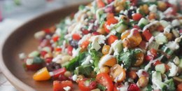 Chickpea Greek Salad with Pomegranate & Tzatziki