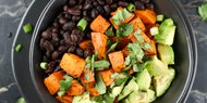 Black Bean Rice Bowl with Carrots and Avocado