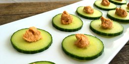 Cucumber Chips with Hummus