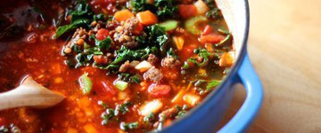 Kale, Sweet Potato and  Sausage Stew