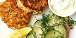 Paleo Salmon Patties with Creamy Dill Cucumbers