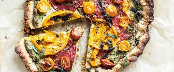 Cashew, Herb, Tomato Pizza with Almond Flour Crust