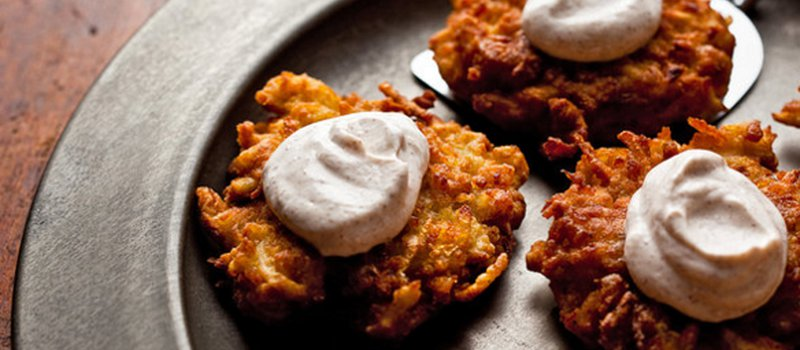 Apple-Potato Latkes with Cinnamon & Sour Cream