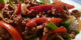"Vegetarian ""Sausage"" with Red Bell Pepper & Onions"