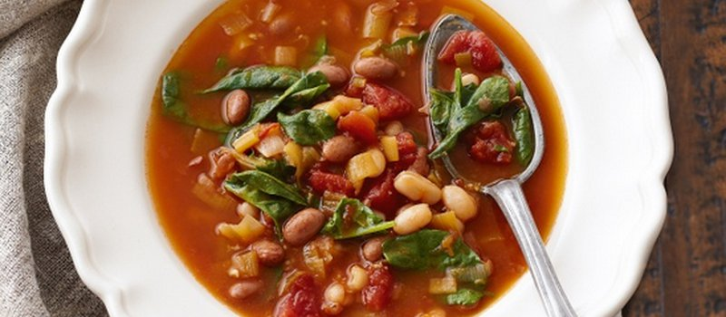 Tuscan Soup with Tomatoes, Spinach and Beans