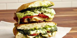 Mozzarella Pesto Panini with Basil