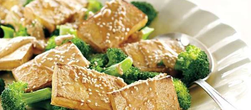 Broiled Tofu With No-Cook Peanut Sauce