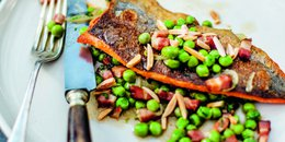Panfried Trout with Braised Peas