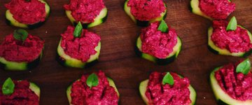 Beet & Basil Pesto on Cucumber Rounds
