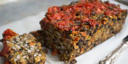 Black Bean Veggie Loaf with Cherry Tomato Topping