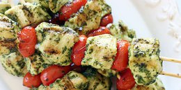 Keto Grilled Pesto Chicken and Tomato Kebabs