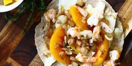 Shrimp Quesadillas- Peaches & Caramelized Onion