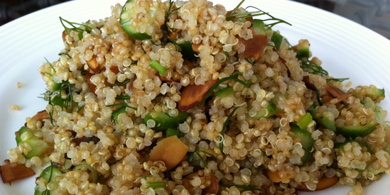 Quinoa, Cucumber, Dill, Toasted Almond Salad