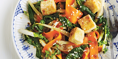 Bok Choy with Pan-Fried Tofu and Peanuts